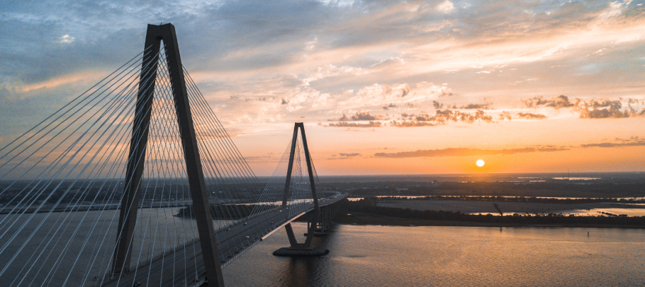 Ravenel Bridge at sunset from above